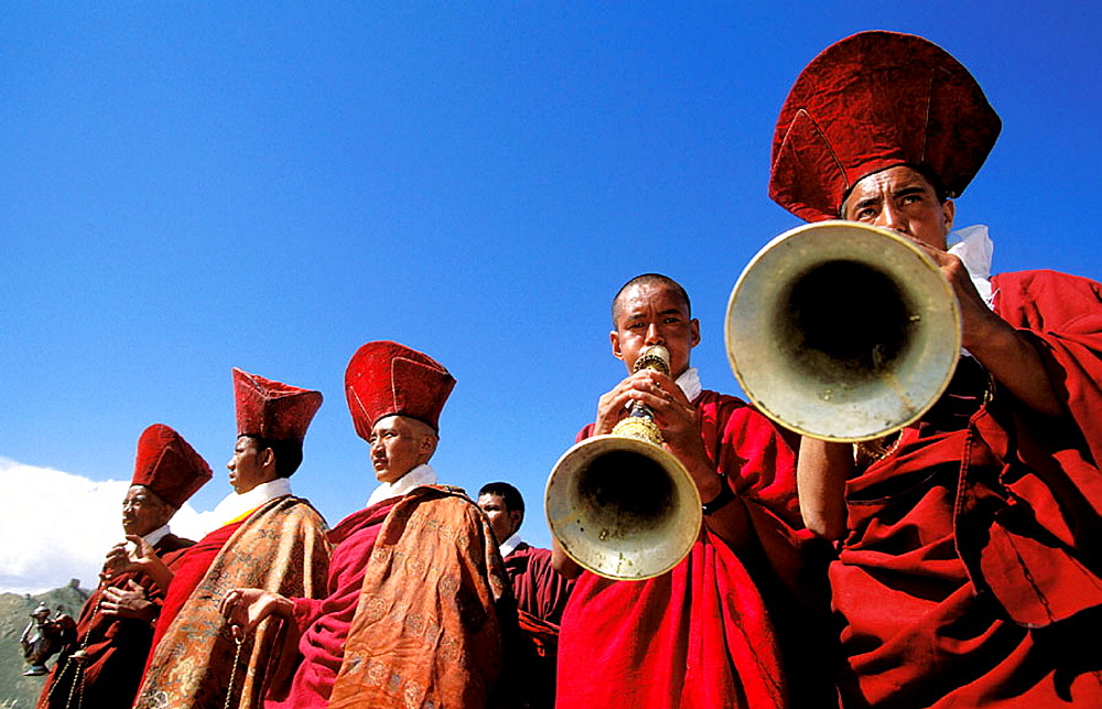 Tibetan monks playing during festival, Ladakh, Himalaya Mountains, India - 817-128619