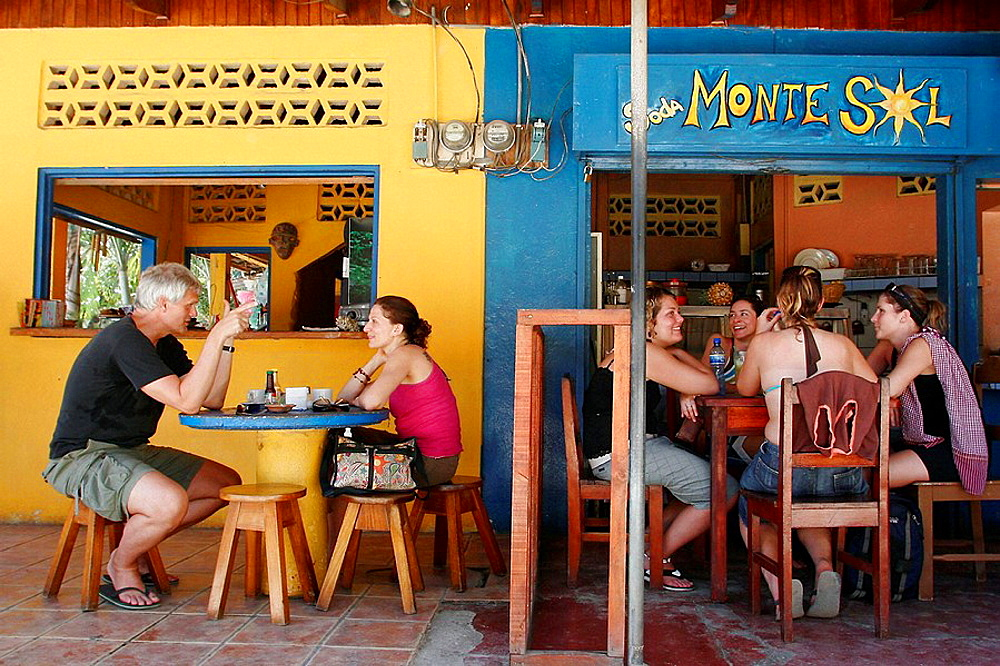 People sitting at a restaurant in Montezuma, Nicoya peninsula, Costa Rica - 817-128832