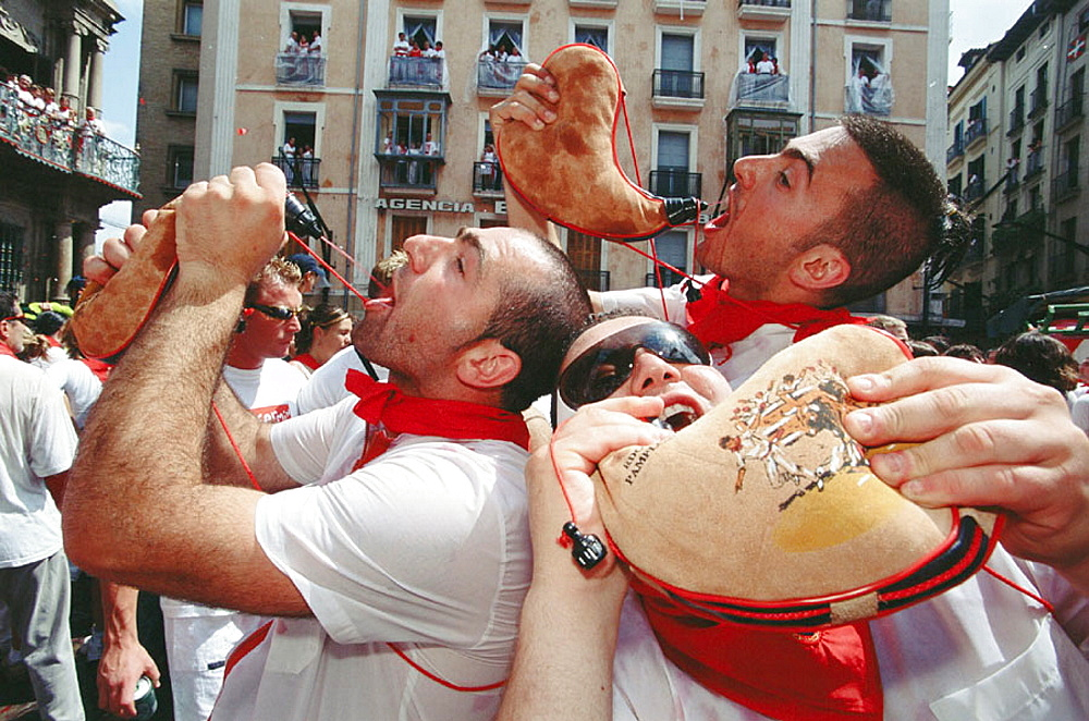 Street party, people during 'Chupinazo', the opening ceremony of the San Fermin Festival, Pamplona, Navarre, Spain