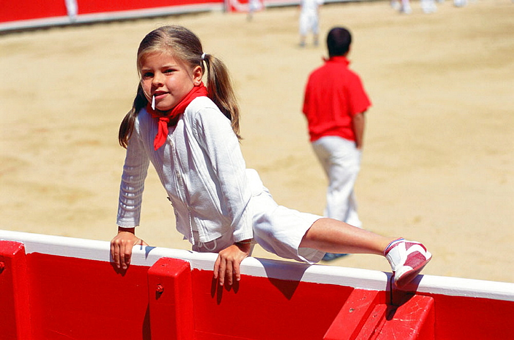 Young girl at San Fermin Festival, Pamplona, Navarre, Spain