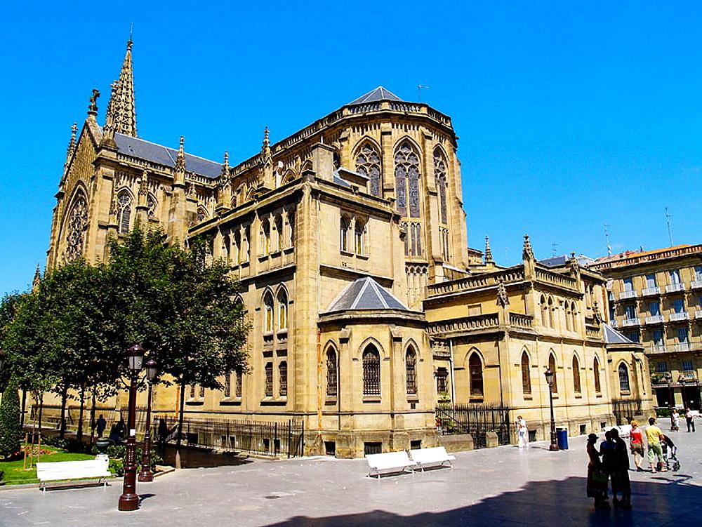 Back view of cathedral, San Sebastian, Euskadi, Spain