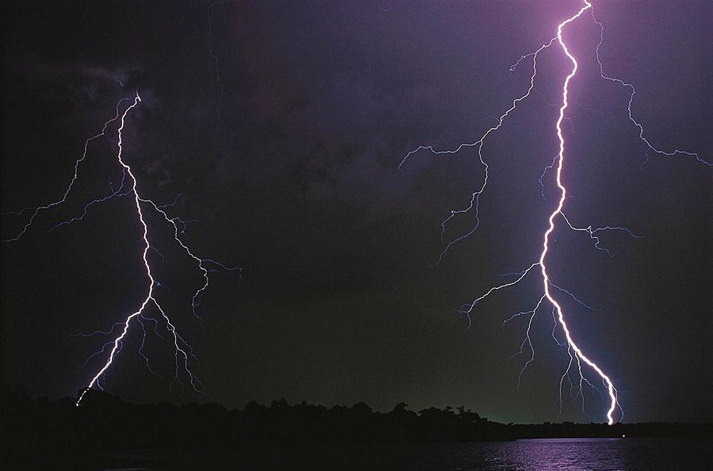 Dual lightning bolt striking over Orlando, Florida