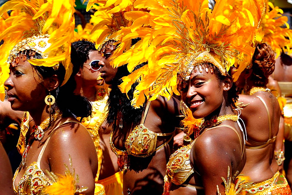 Women wearing Carnival costume, Trinidad Carnival, Queens Park Savannah, Port of Spain, Island of Trinidad, Republic of Trinidad and Tobago