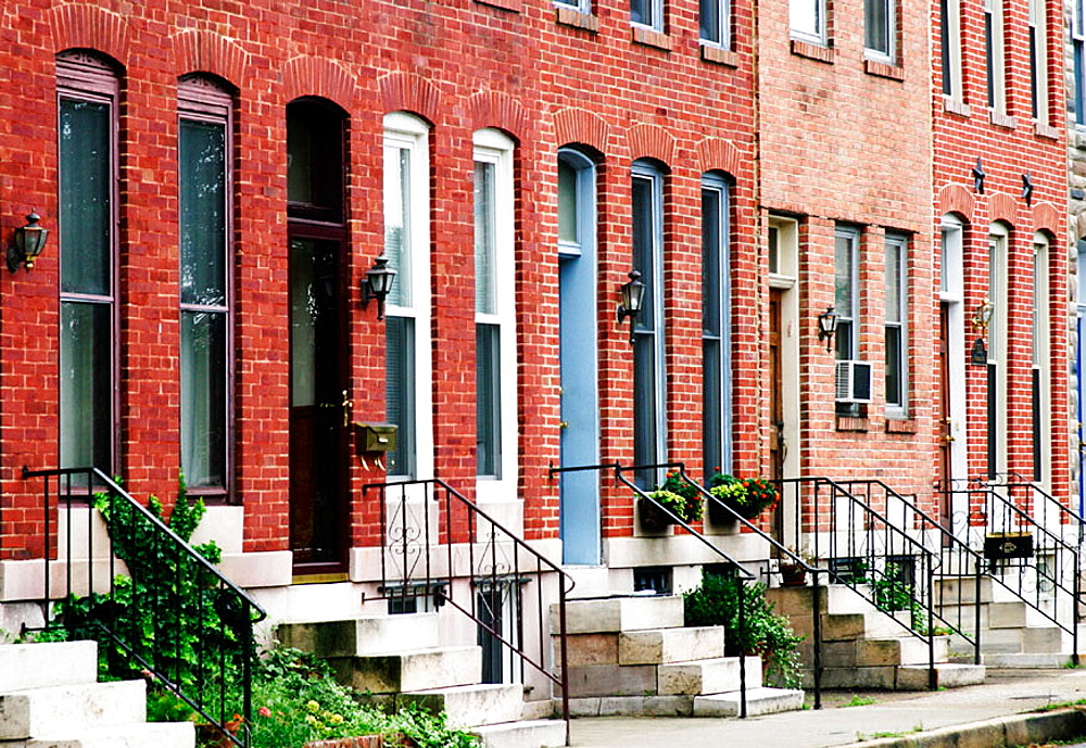 Renovated row-houses on Riverside Street, Federal Hill, Baltimore, Maryland, USA