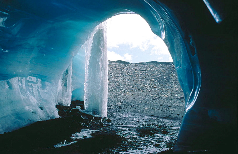 Cave in the ice, Nevado Pastoruri Glacier, Los Andes, Peru