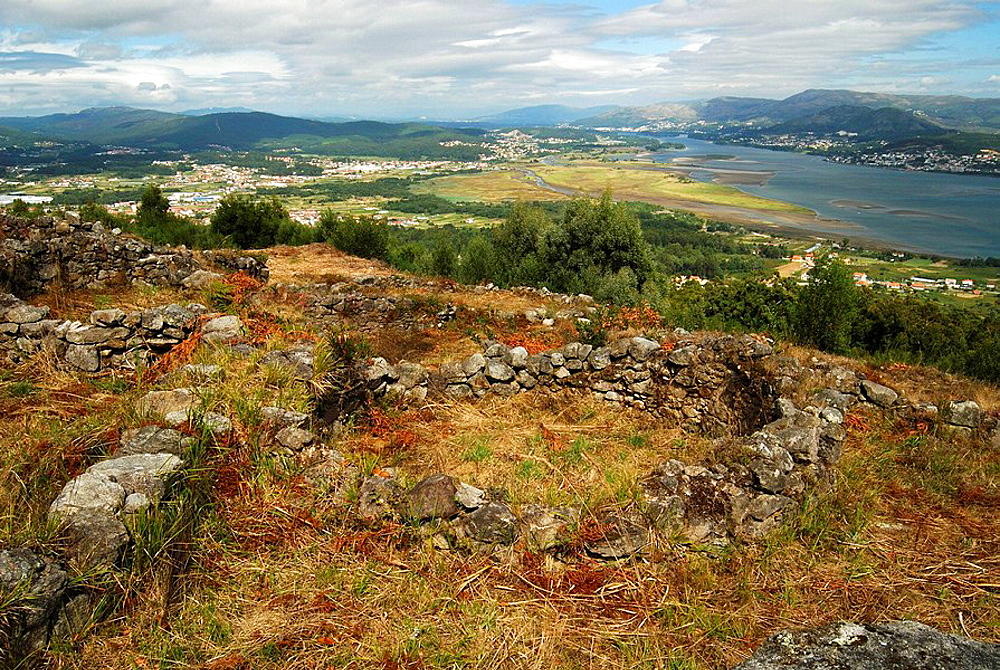 'Castro' (old fortified settlement) of Santa Tecla and Mino river estuary in background, Pontevedra province, Galicia, Spain