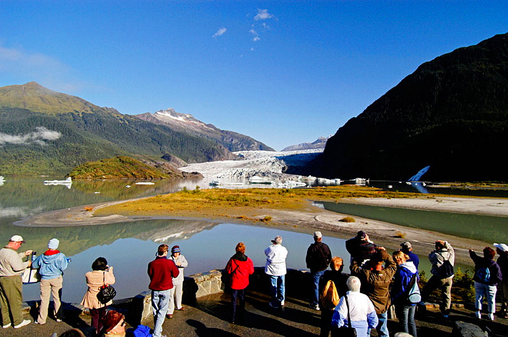 Tourists at Mendenhall Glacier, Juneau, Alaska, United States