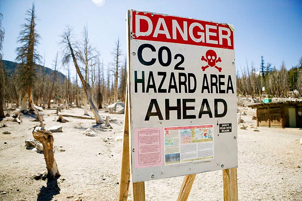 Sign warning of hazardous carbon dioxide area, Mammoth Lakes, California, United States