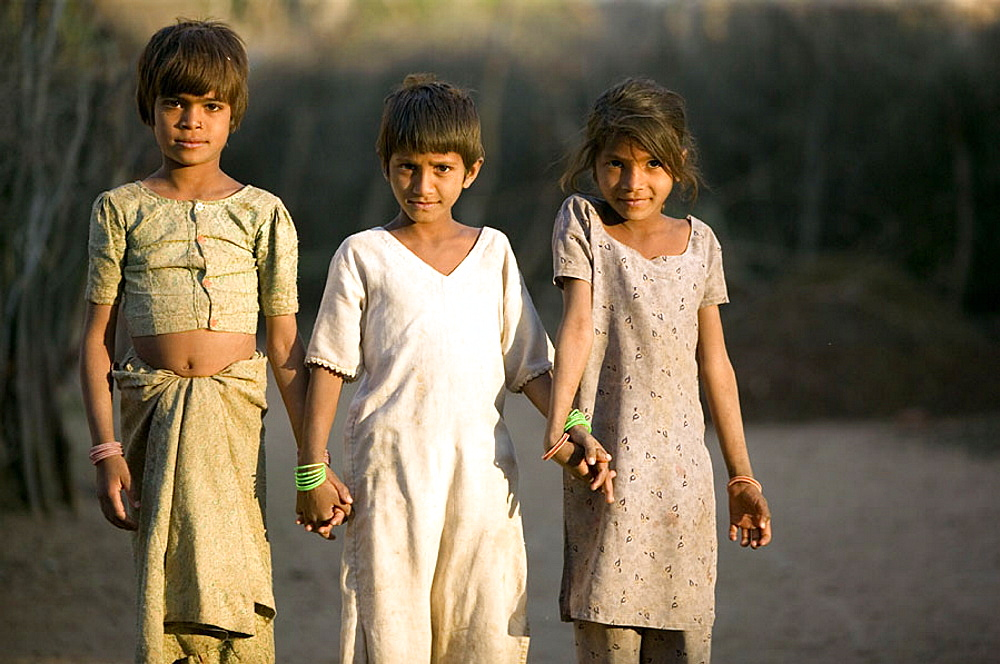Portrait of village children, Bhenswara, Rajasthan, India