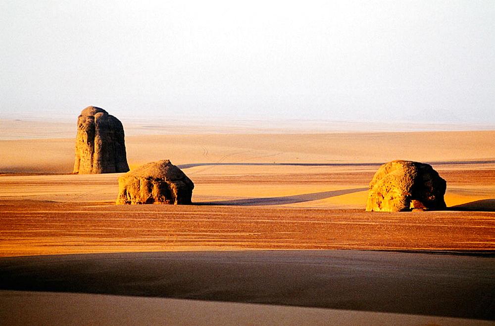 Sand and rocks, Marmar Tassili, Tibesti Massif, Sahara Desert, Chad