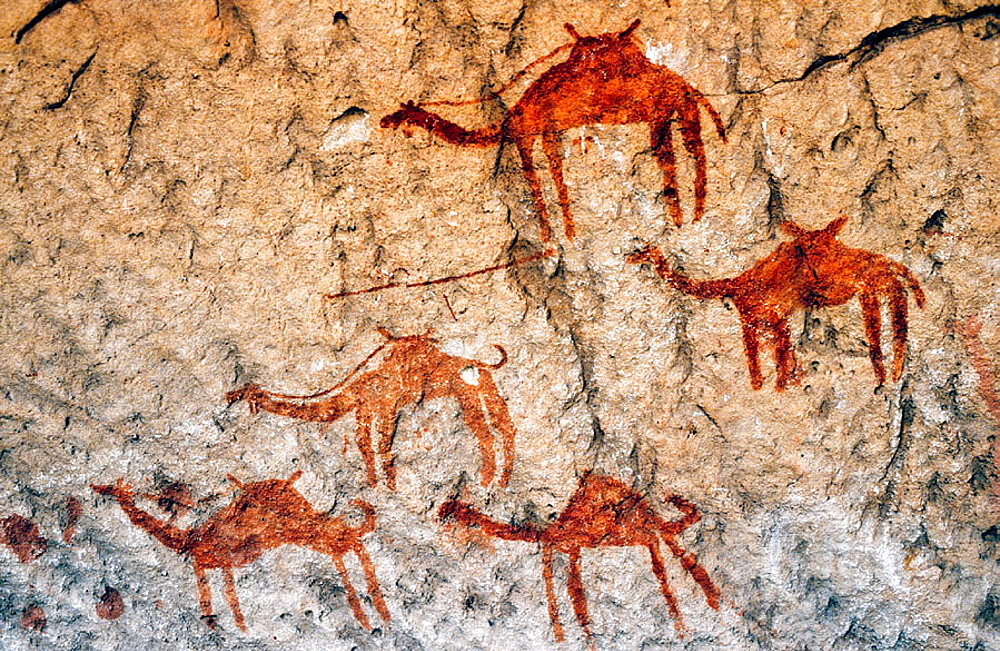 Prehistoric cave paintings, Ladyo, Sahara Desert, Chad