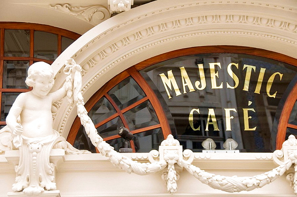 Famous Majestic Cafe art nouveau building on Rua Santa Catarina, Porto, Portugal