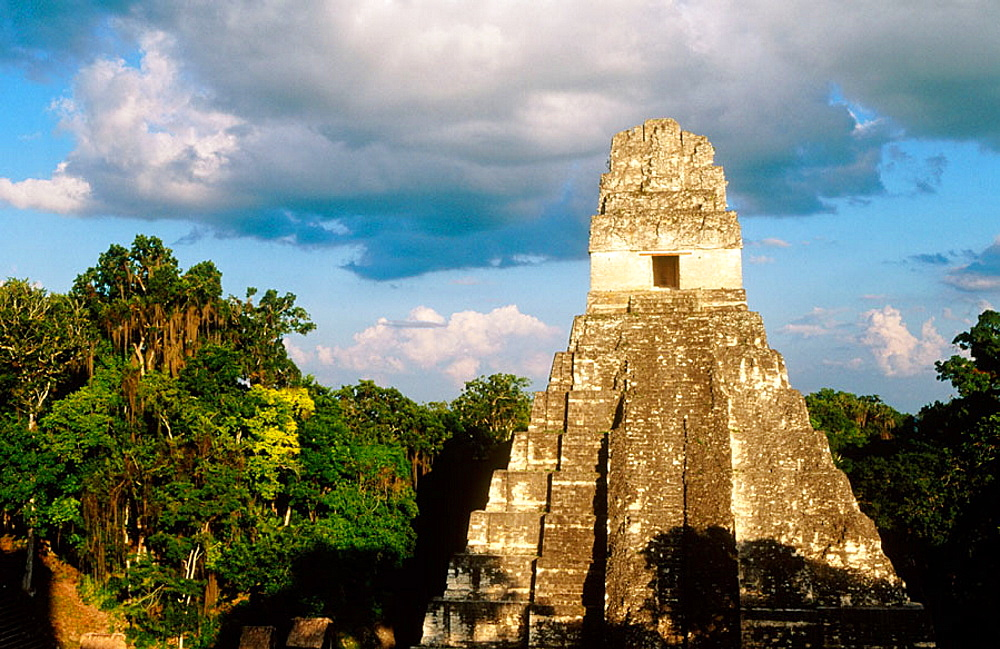 Temple of the Giant Jaguar at Gran Plaza, Mayan ruins of Tikal, Peten region, Guatemala