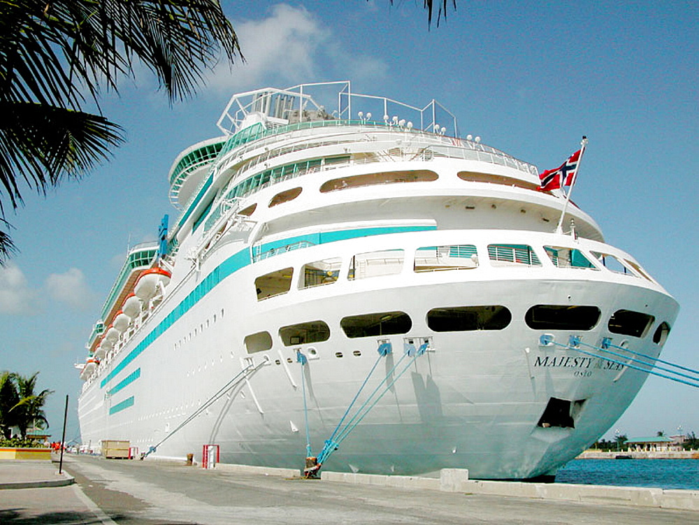 The Carnival cruise ship Fantasy stops at Nassau in the Grand Bahama Islands