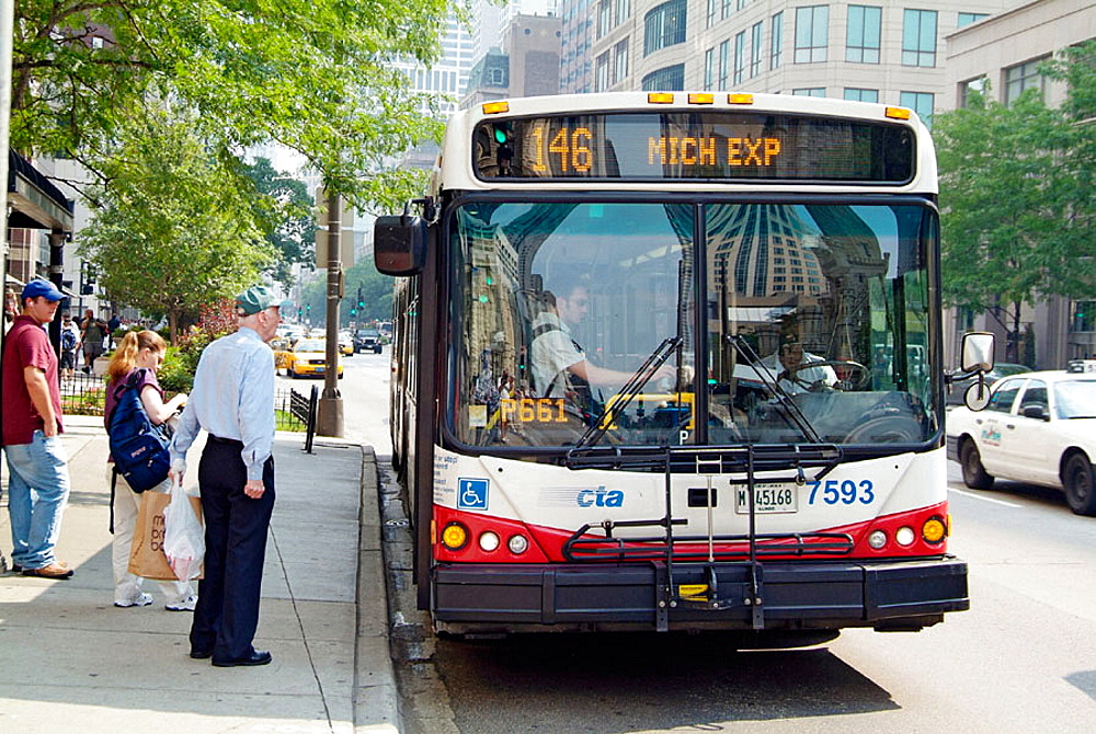 Chicago Transit Autority provides bus transportation throughout the city, Chicago, Illinois, USA