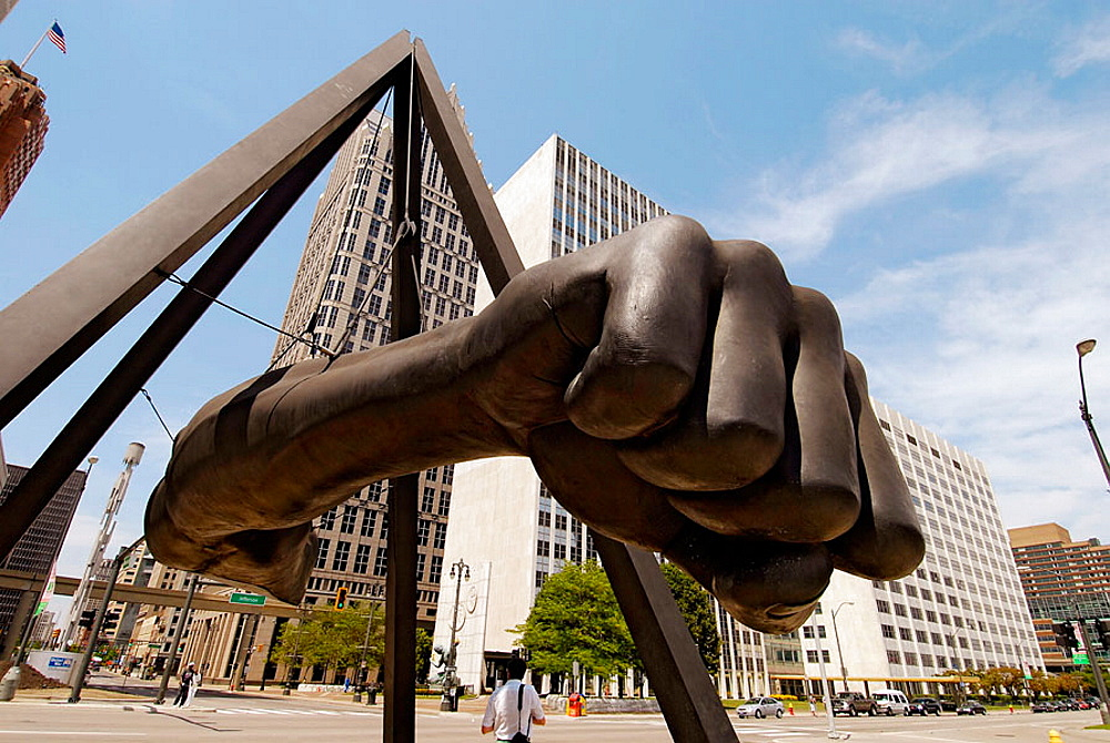 Fist of boxing great Joe Lewis memorial in Downtown Detroit (Michigan) as viewed from the Hart Plaza symbolizing Michigan's Labor Legacy Landmark, USA