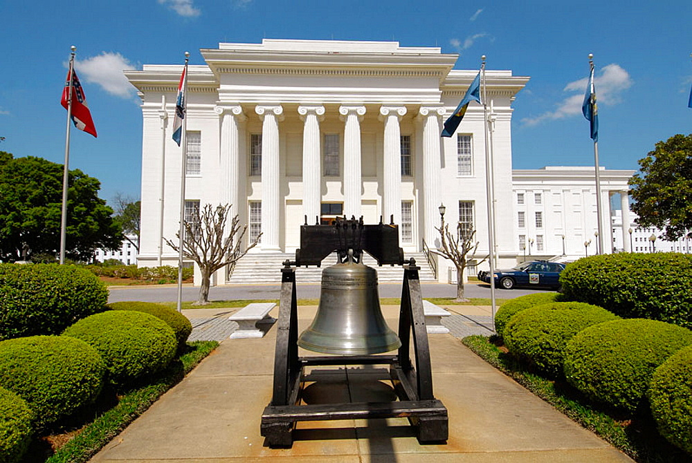 Replica of the Liberty Bell in front of the Historic State Capitol building, Montgomery, Alabama, USA