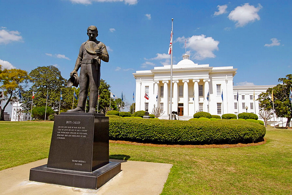 Memorial to all law enforcement police official in the historic city of Montgomery, Alabama, USA