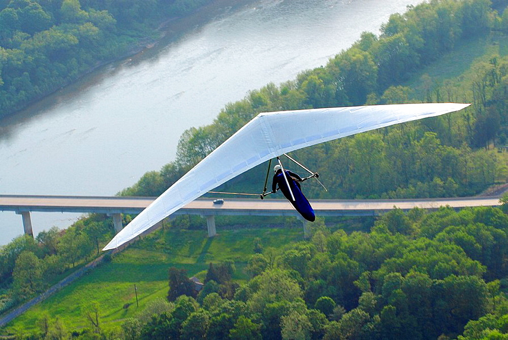Hang gliding over the Susquehana River at Hyner View State Park at Hyner View, Pennsylvania PA