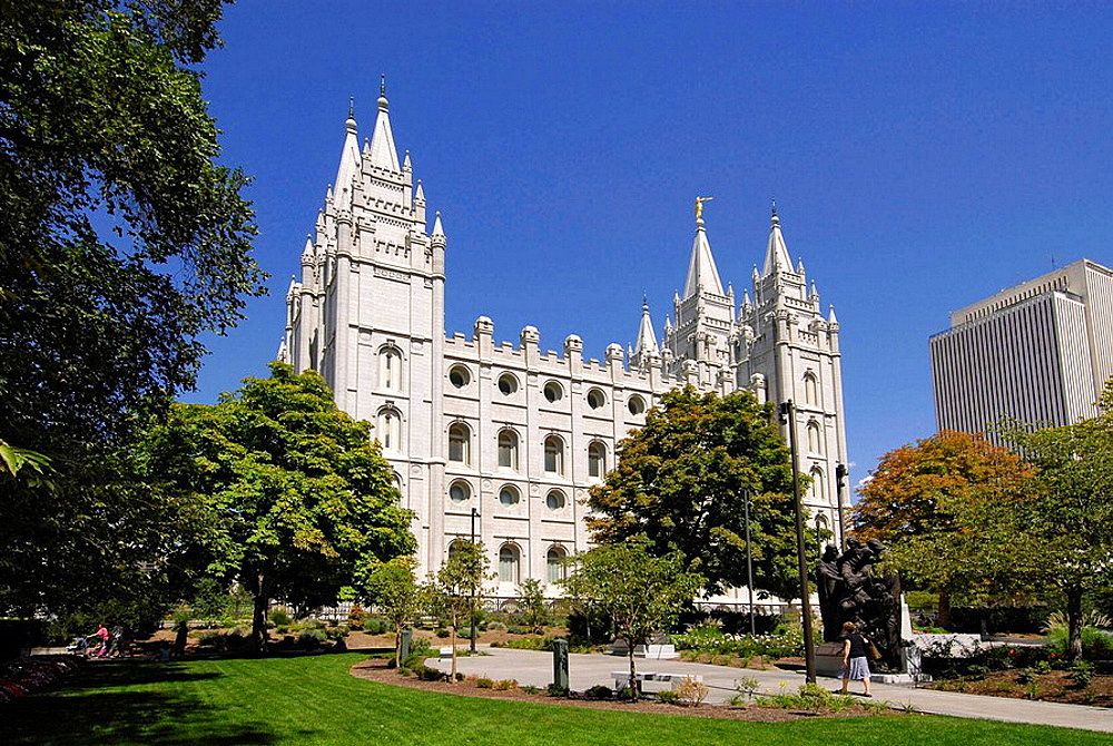 The Salt Lake Temple and church of the Church of Jesus Christ of Latter-day Saints in Salt Lake City, Utah, USA