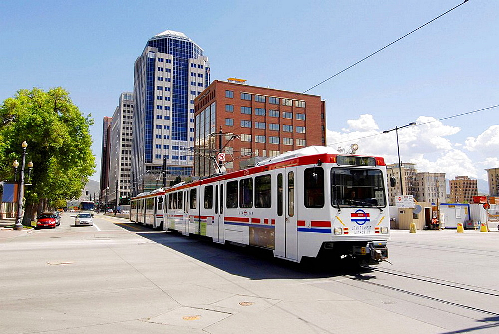 Utah Transit Authority using electrical powered transportation in Salt Lake City, Utah, USA