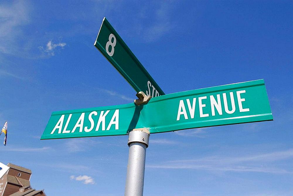 Alaska Avenue Street sign in Dawson Creek British Columbia BC, Canada Beginning of the Alaska Highway Al_Can ALCAN Mile Zero City