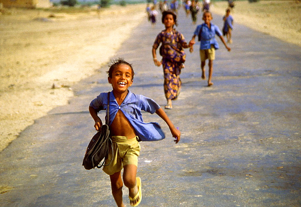 Children coming out school, Thar desert region, India