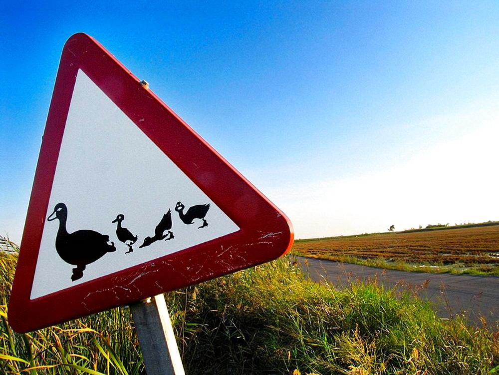 Sign, Ebro delta wetland area, Tarragona province, Catalonia, Spain