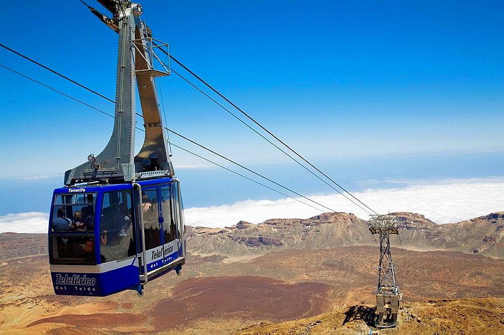 Cable car to Mount Teide, Las Canadas del Teide National Park, Tenerife, Canary Islands, Spain