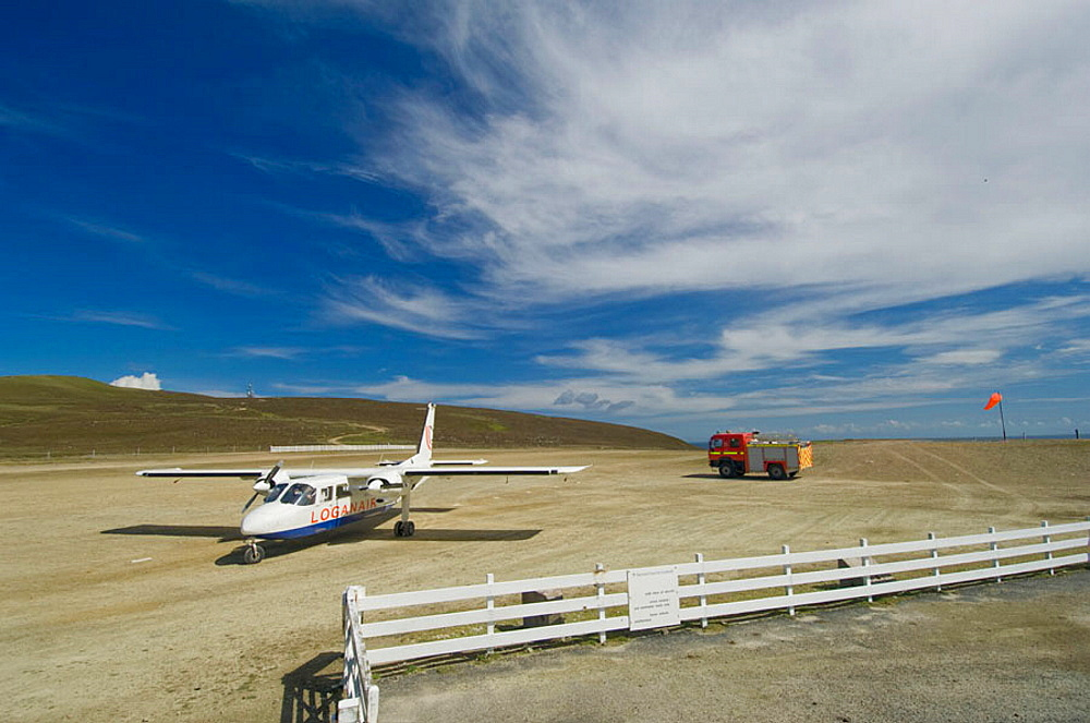 Aircraft shuttle between Shetland islands landed at Fair Isle landiong ground, UK