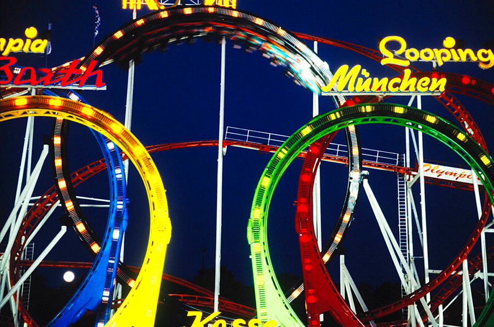 Octoberfest amusement rides: the Olympia Looping, a roller coaster designed by Anton Shwarzkopf, Munich, Germany