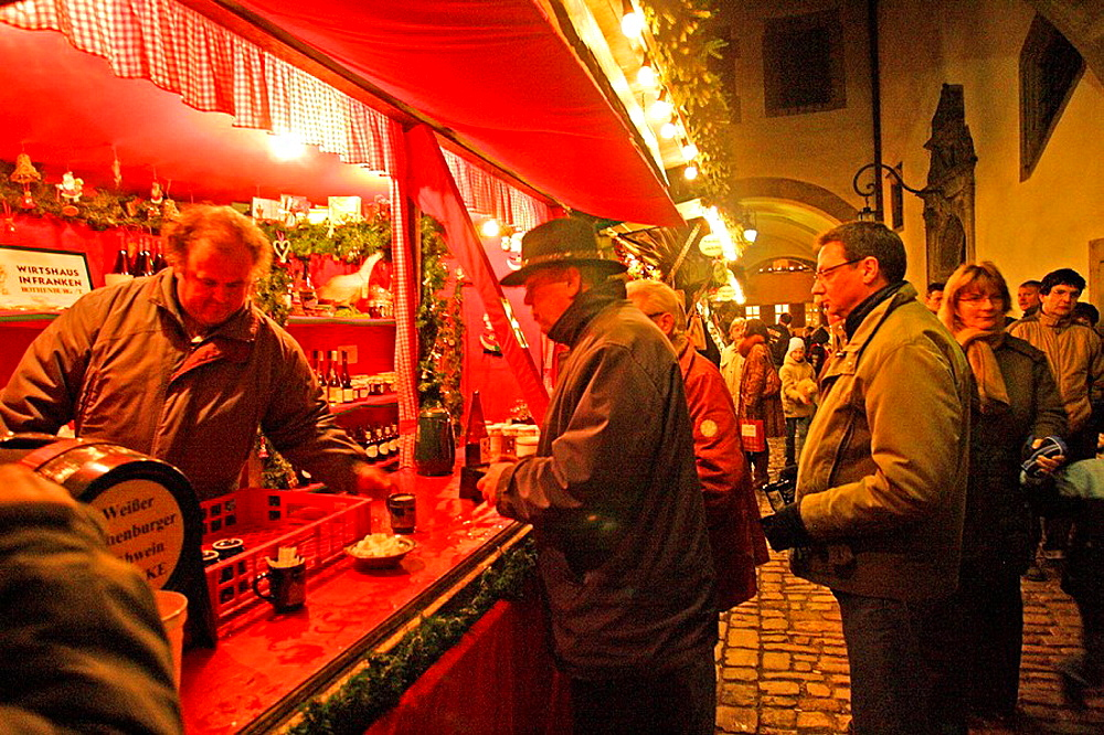 Gluhwein for sale at Christmas market, Rothenberg, Bavaria, Germany