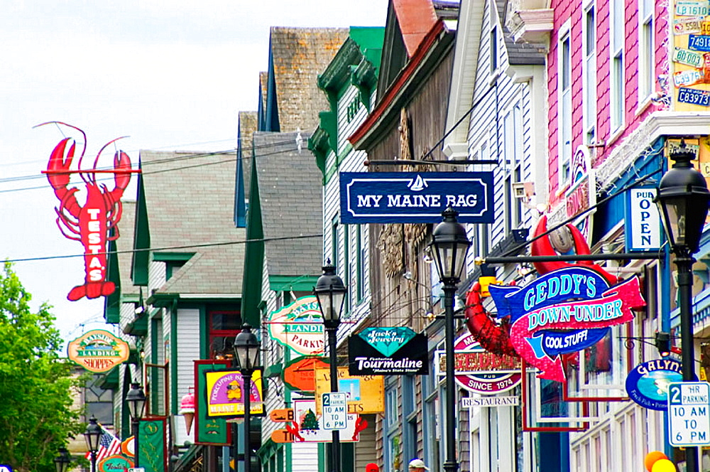 Shops in downtown Bar Harbor, Maine, USA