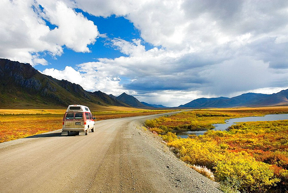 The Dempster Highway winding its way through the Ogilvie Mountains, Tombstone Territorial Park, Yukon, Canada