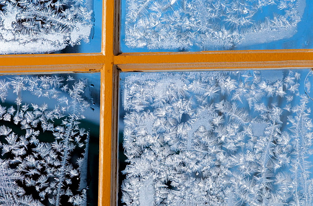 Frost on window, Saguenay, Quebec, Canada - 817-157211