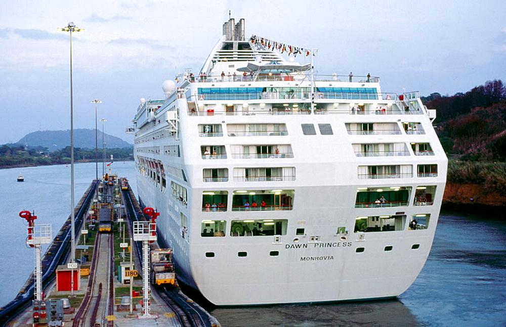 Cruise ship crossing Miraflores locks, Canal de Panama, Panama