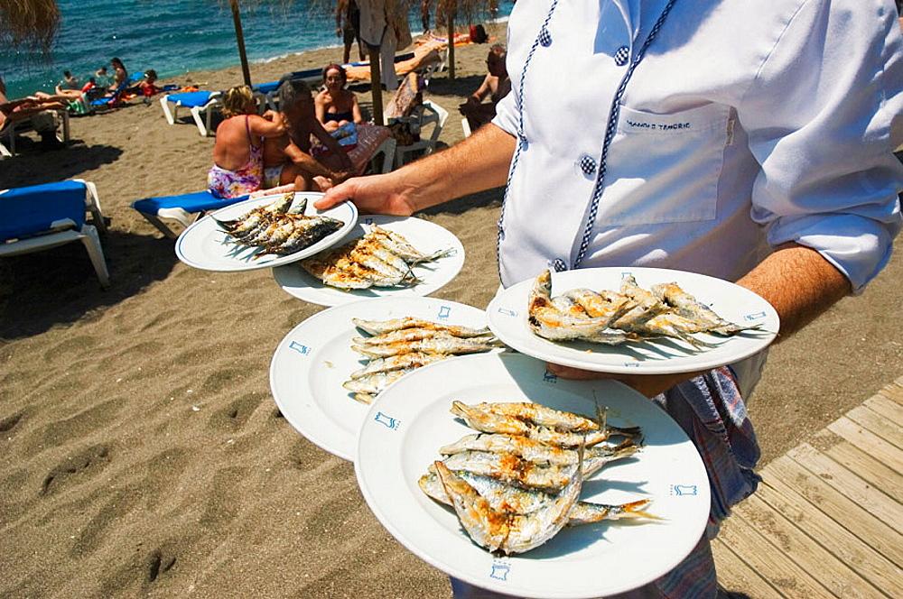 Sardines, Restaurante Beach Club El Fuerte, Playa de Venus, Marbella, Andalucia, Spain
