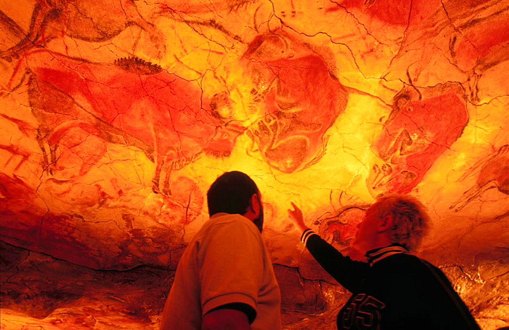 Bisons in Altamiras reproduction cave (Neo Cave), Altamira museum, Santillana del Mar, Spain