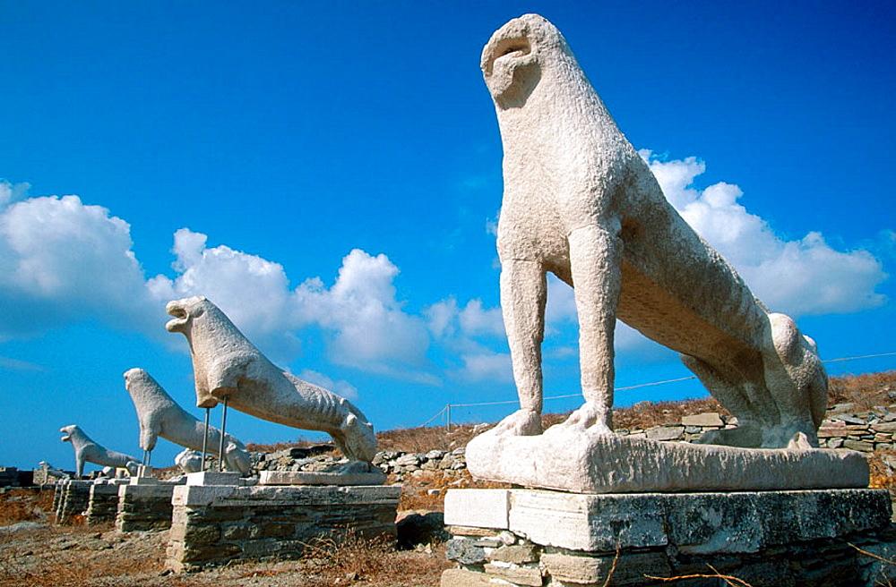 Lion statues, Delos, Cyclades Islands, Greece