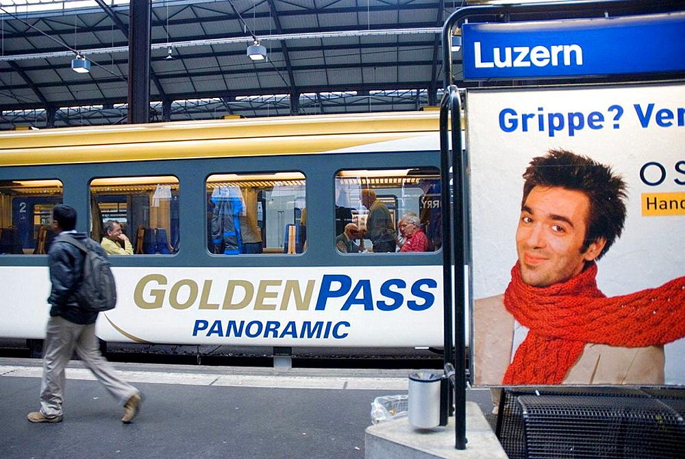 Golden Pass Panoramic train in Lucerne station, Switzerland