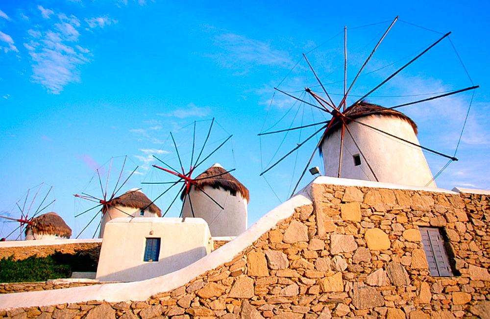 Windmills  in Mikonos, Greece