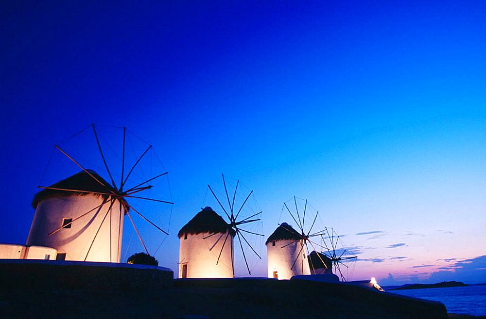 Windmill at dusk, Mikonos, Greece