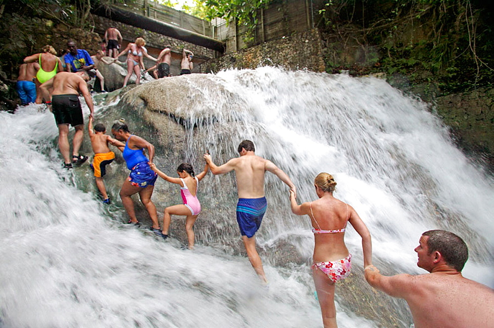 People climbing the Dunns River Falls in Ocho Rios, Jamaica, December 2004