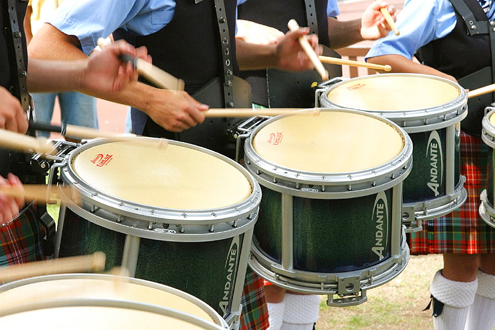 Side drums in Pipe Band, Glasgow, Scotland, UK