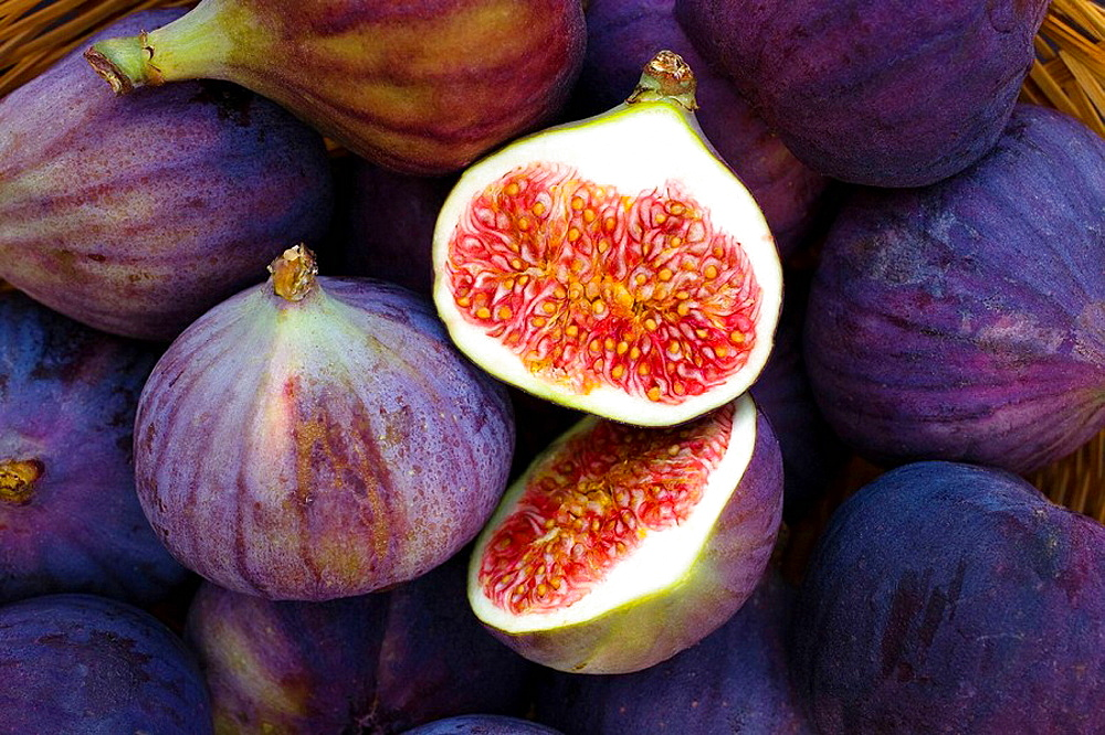 Selection of freshly collected and cut figs