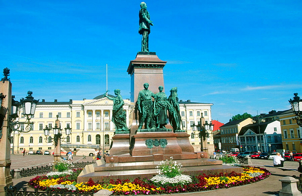 Cathedral and statue of Alexander II on Senate Square in old town, Helsinki, Finland
