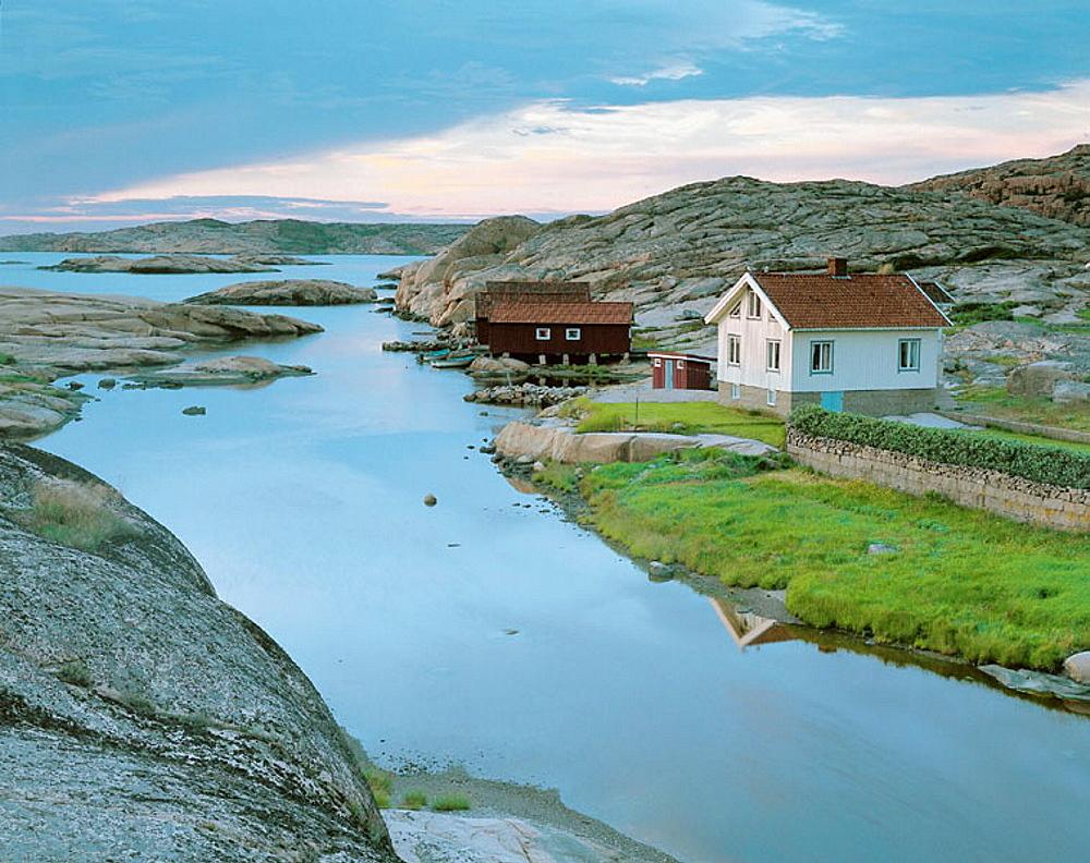 Houses, stone seashore, Ramvikslandet, Bohuslan, Sweden