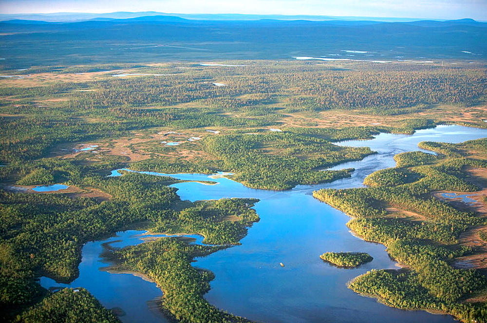 Forest and lakes landscape, mountains in the background, aerial view, Kiruna, Lappland, Sweden