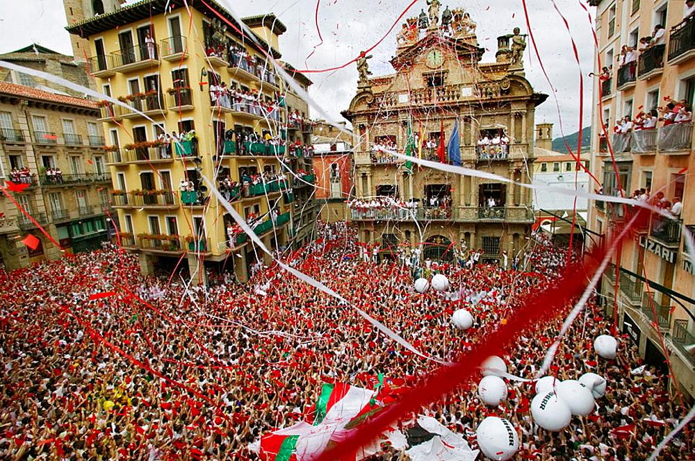 Chupinazo', the opening ceremony of the San Fermin Festival, 7 July, Pamplona, Navarre, Spain