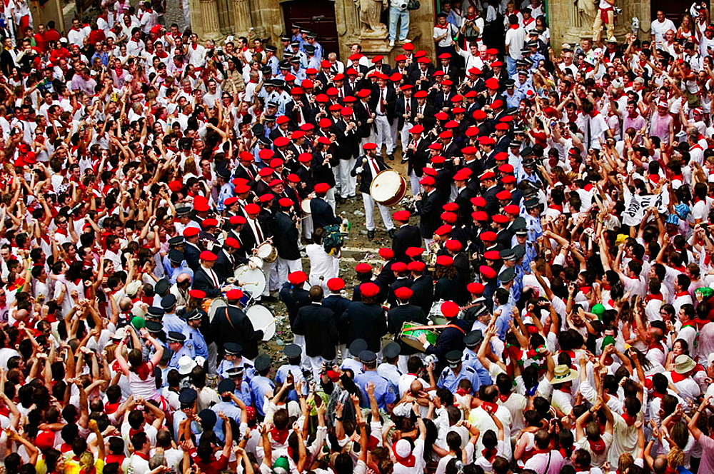 La Pamplonesa' music band, 'Chupinazo', the opening ceremony of the San Fermin Festival, 7 July, Pamplona, Navarre, Spain